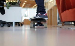 Skateboard in office