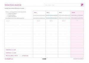 Selection Matrix worksheet