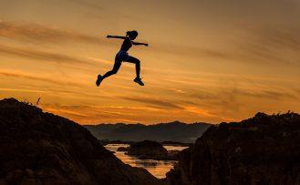 Runner jumping